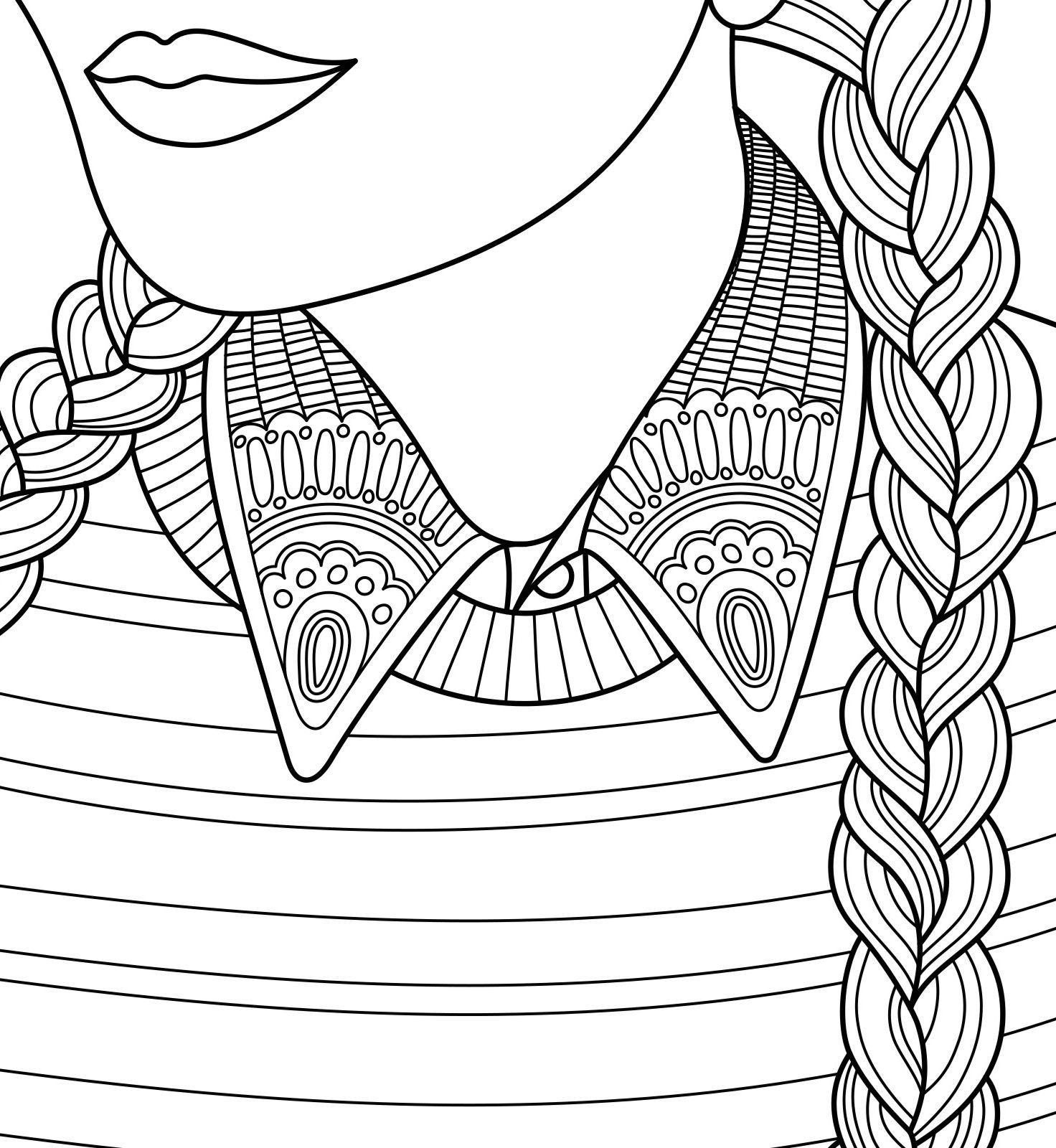 Girl With Plaits To Colour With Coloringbookforme