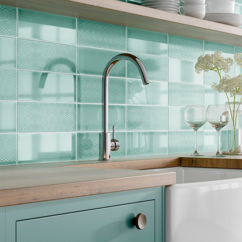 Make A Glossy Accent Wall: Accents Zenith Green Flat Gloss Wall Tile 100mm X 300mm