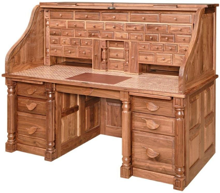 Amish Computer Secretary Desk Armoire Modesto Solid Wood: Amish President's Style Roll Top Desk