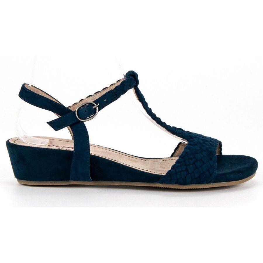 88e4992a #Sandały #Damskie #Corina #Niebieskie #Granatowe #Sandały #Na #Koturnie  #Corina