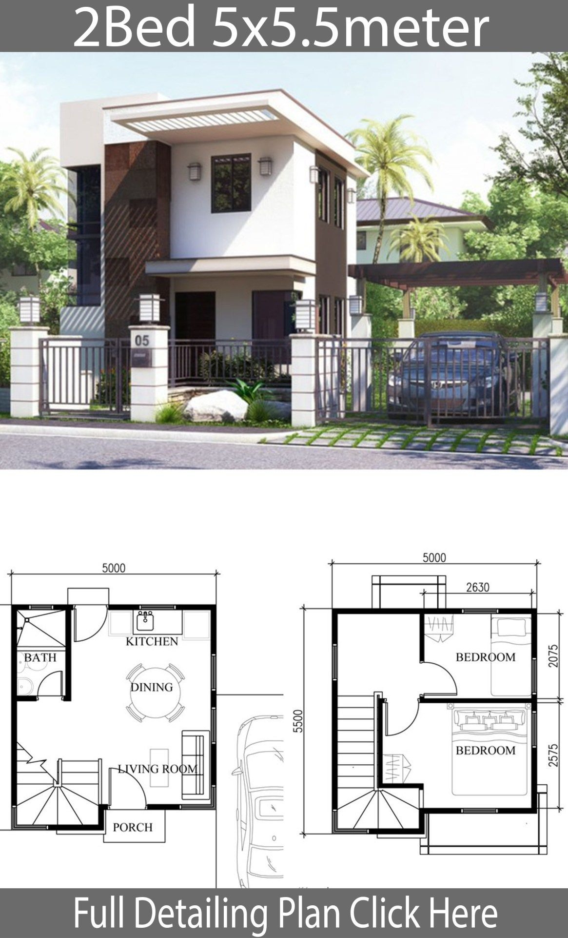 Small Home Design Plan 5x5 5m With 2 Bedrooms Arsitektur Rumah