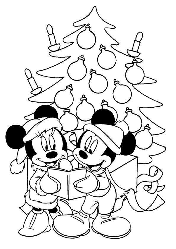Mickey And Minnie Mouse With Large Christmas Tree