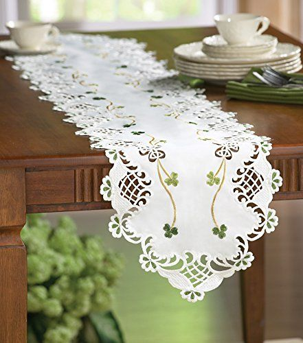 Embroidered Irish Shamrock Table Runner Conveys the look of a real ...