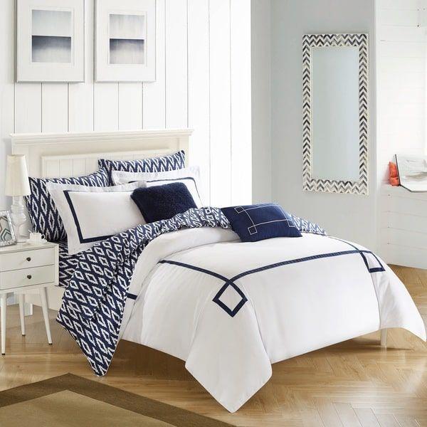 Chic Home 9-Piece Edrea Navy BIB Comforter Set   Bedding ...