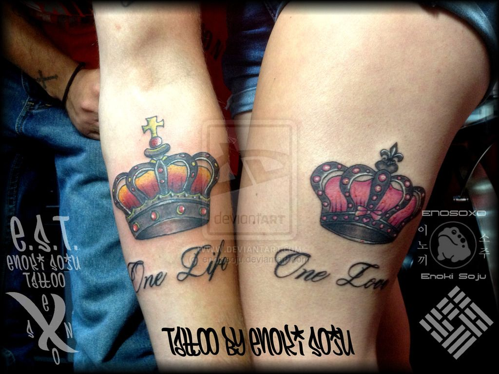 His and hers crown tattoos by enoki soju by enokisoju for Tattoos for her