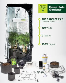 The Dabbler 2' x 2' Complete Beginner's Organic Grow Kit:  Ideal for both budding beginners and experienced growers with no space to spare, our right-sized grow kits yield a harvest of herbal healing without taking over house and home or sacrificing success for convenience.