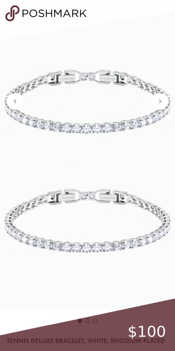 Swarovski Bracelet Tennis White Rhodium Plated In 2020 Swarovski Bracelet Swarovski Jewelry Bracelets Womens Jewelry Bracelets