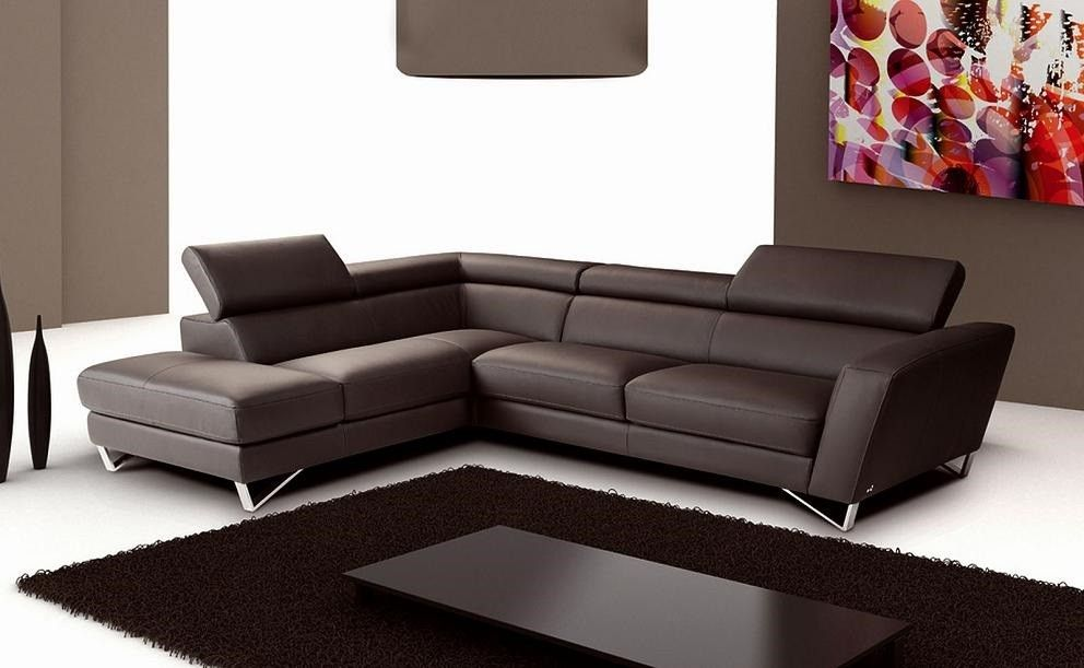 Sparta Sectional Chocolate Left Facing Chaise Italian Leather Sectional Sofa Leather Sectional Sofas Modern Sectional Living Room