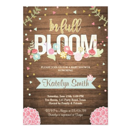 In full bloom baby shower invitation floral bloom baby shower in full bloom baby shower invitation floral filmwisefo Images