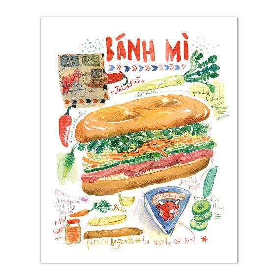 Banh mi vietnamese sandwich illustration print, Kitchen art, Illustrated recipe, Vietnam art, Food poster, Watercolor painting, Home decor