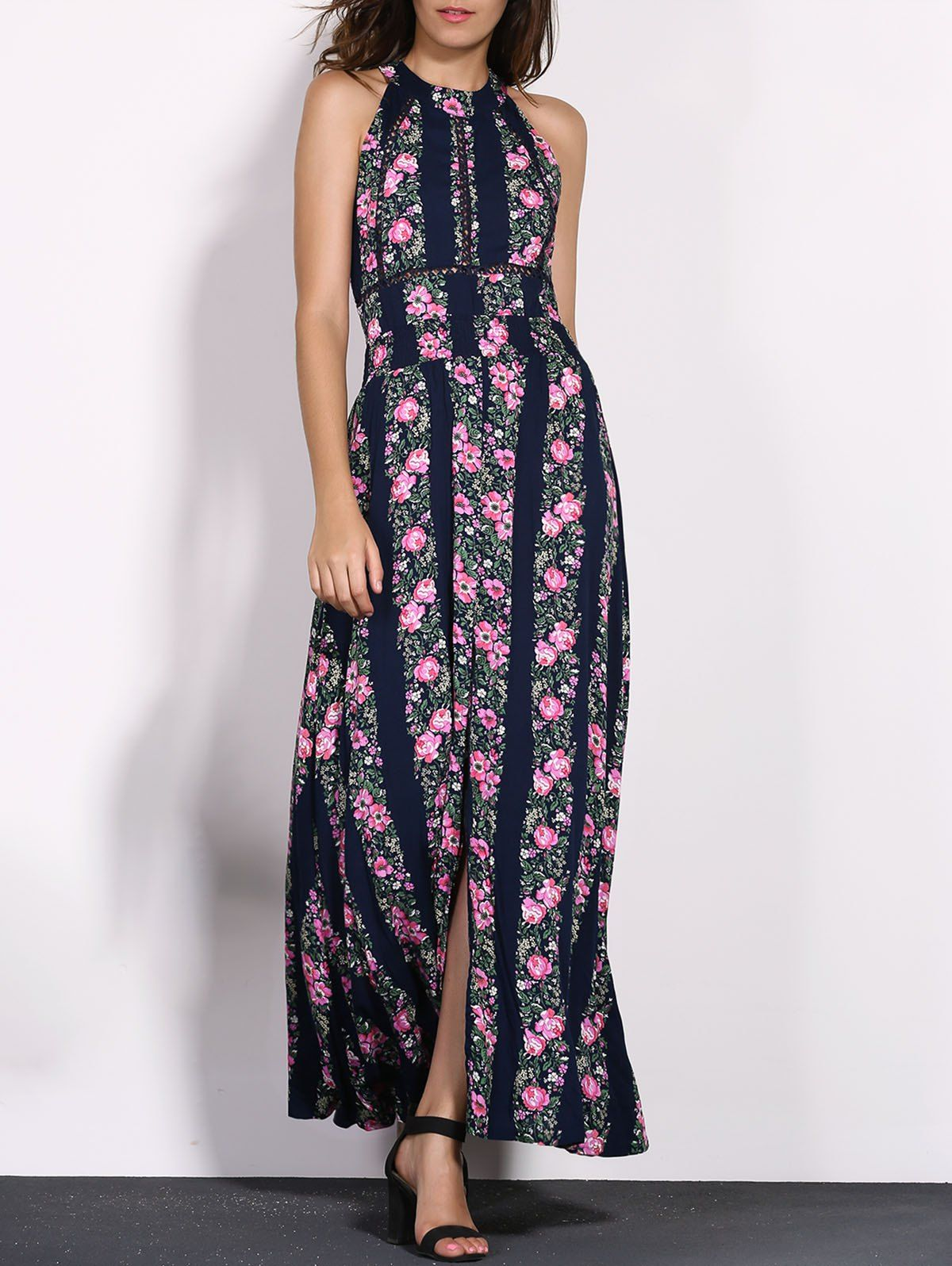 3e14d0977f Charming Jewel Neck Sleeveless Backless Floral Print High Slit Maxi Dress  For Women Maxi Dresses