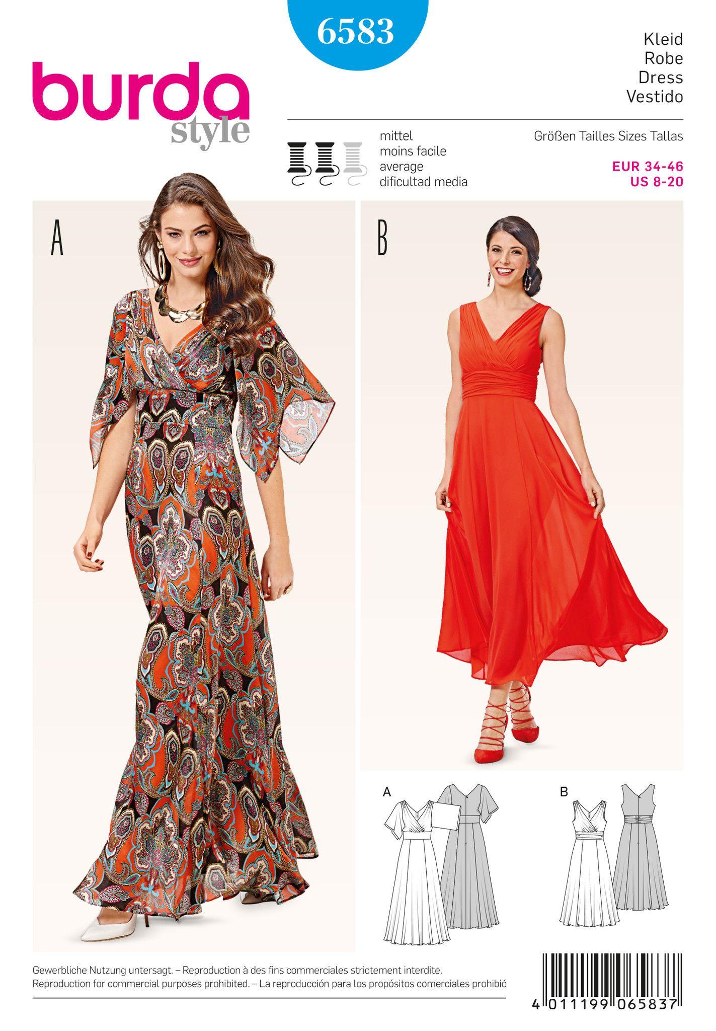BD6583 Burda Style Pattern 6583 Dress Dress patterns