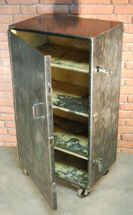 Vintage Industrial Metal Cabinet With Casters