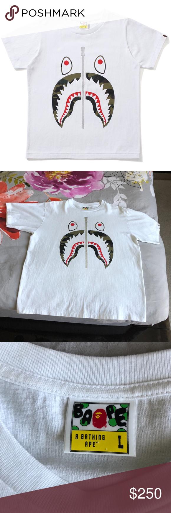 1c878469 BAPE City Camouflage SHARK Tee T-shirt White L A BATHING APE BAPE CITY CAMO  SHARK