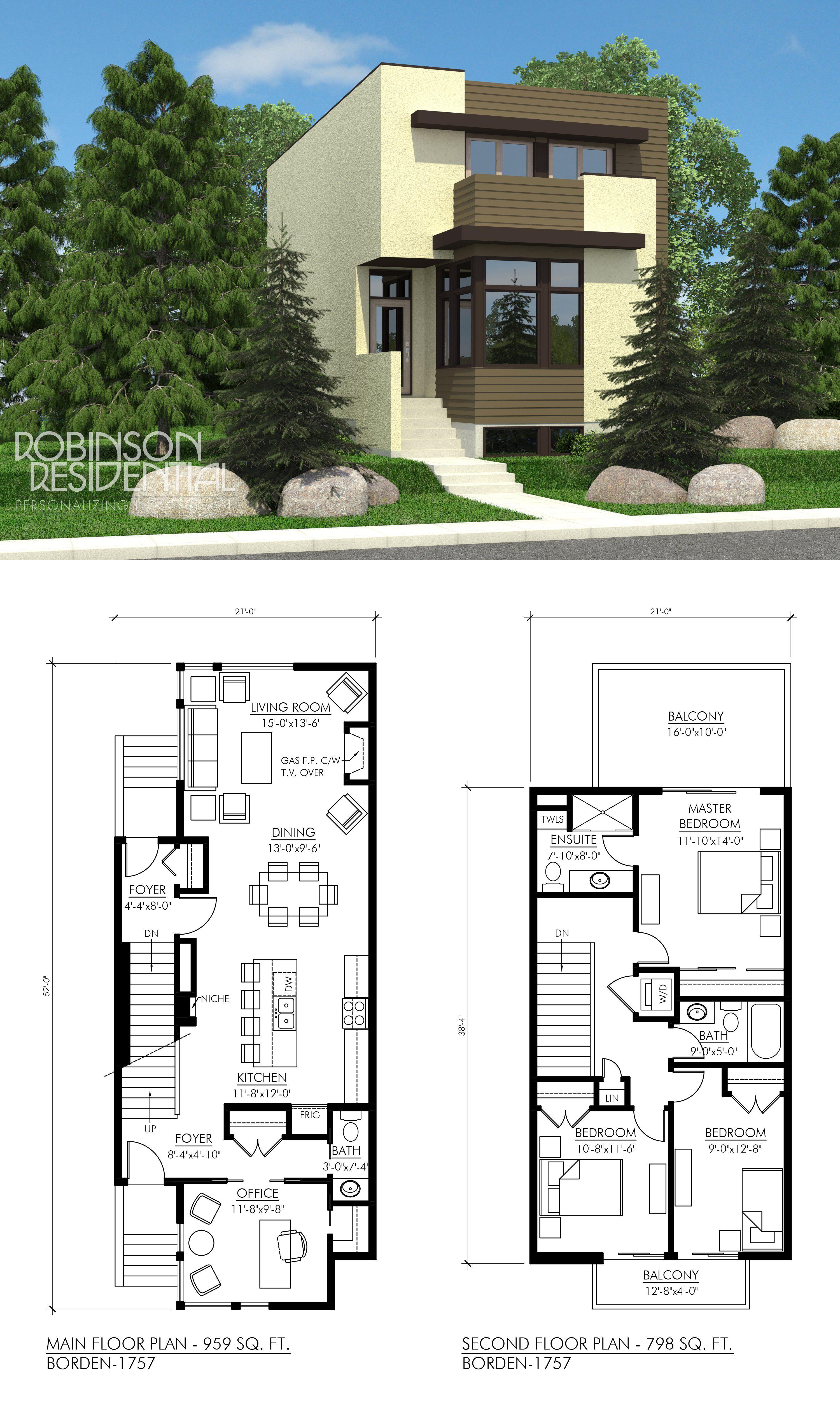 Contemporary Borden 1757 Narrow Lot House Plans Narrow House