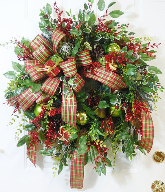 XXL Christmas Door Wreath Outdoor Holiday Wreath by LadybugWreaths - outside christmas decorations sale