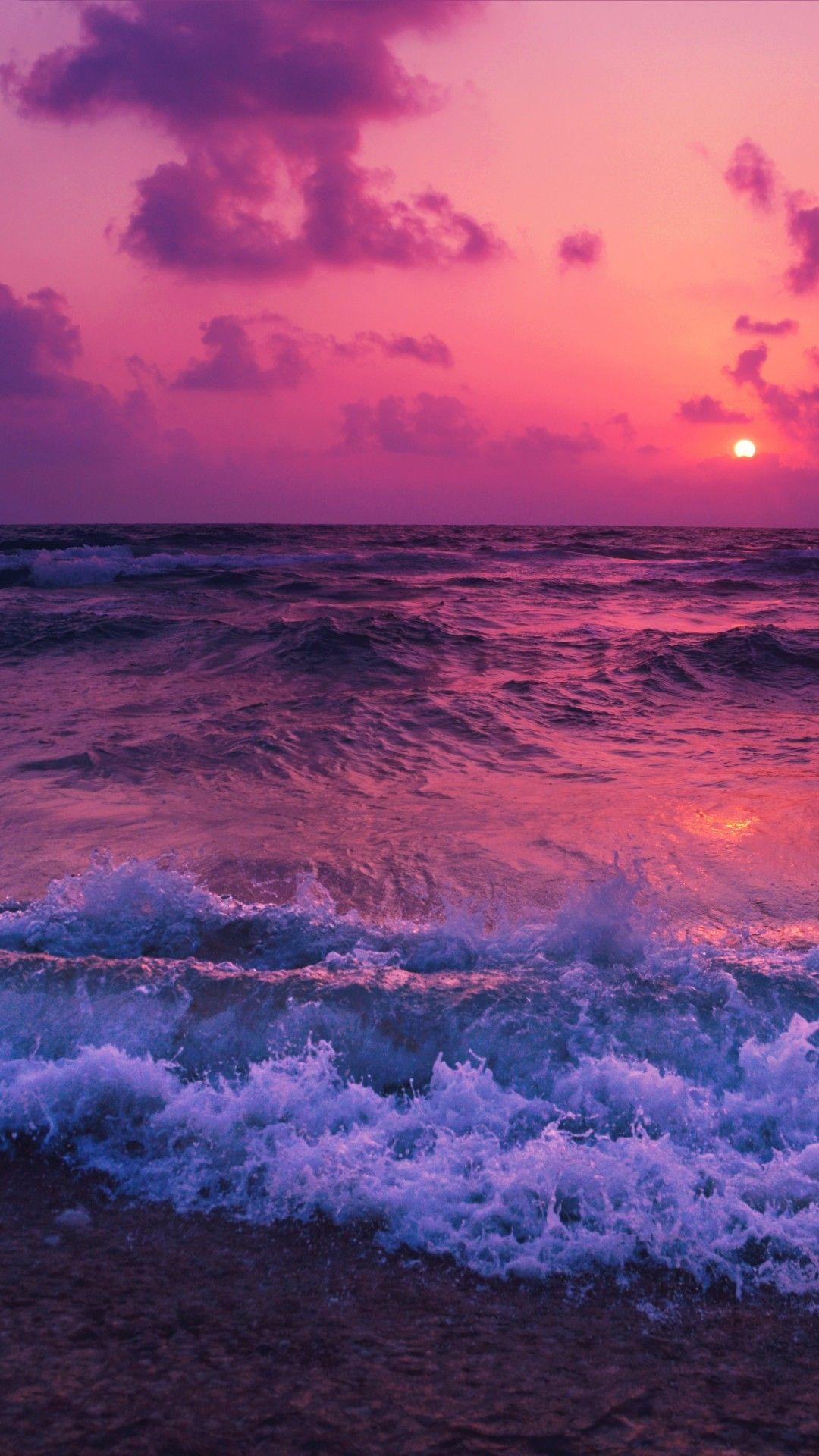 Ocean, Sunset, Waves, Foam, Beach | Sky aesthetic, Beach ...