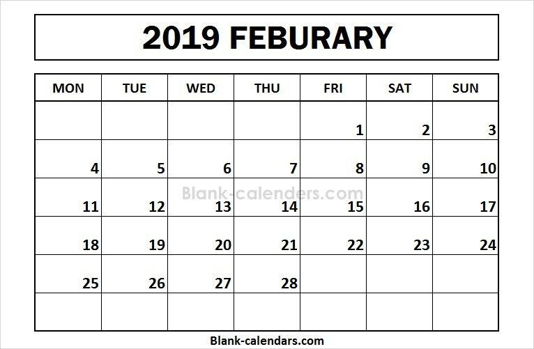 Printable February 2019 Monthly Calendar Blank February 2019
