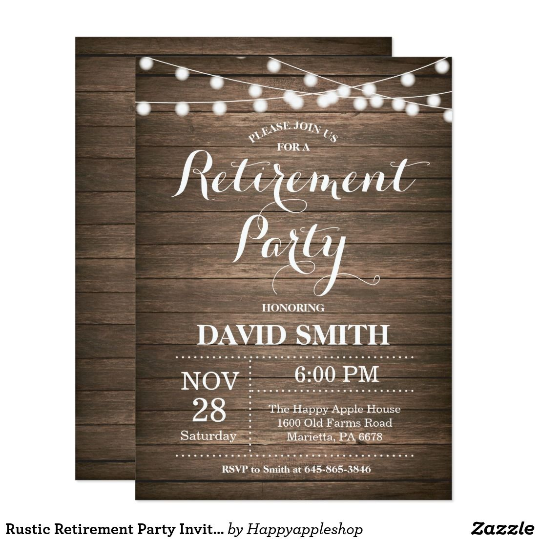 Rustic Retirement Party Invitation Card | Retirement parties and ...