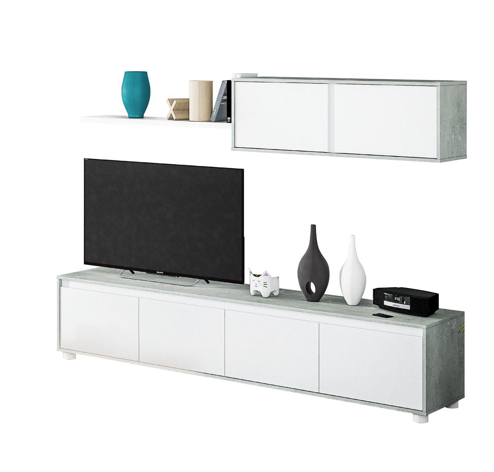 Photo of Parete attrezzata moderna, con base tv, pensili e mensola, finitura Cemento e Bi…