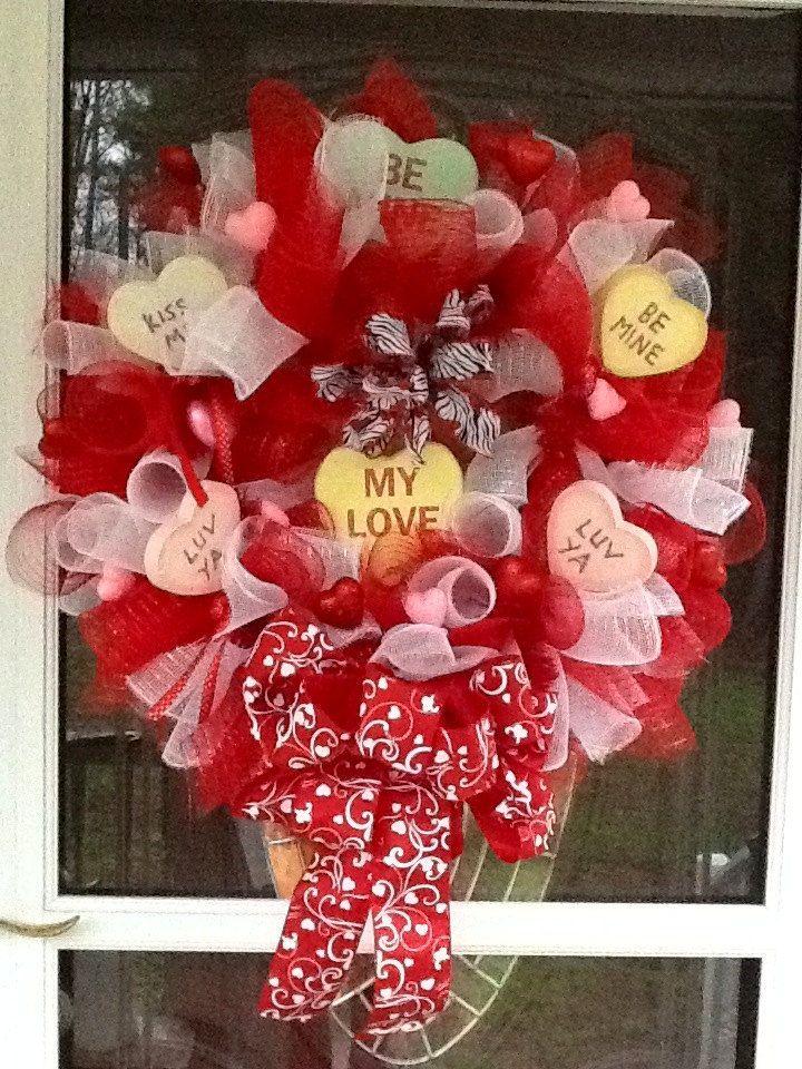 Deco Mesh Valentines Day Wreath Valentines Day Ideas Valentine