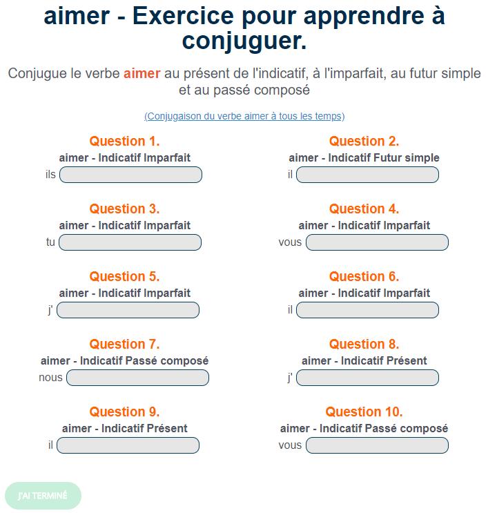 Exercice De Conjugaison Le Verbe Aimer En 2020 Exercices Conjugaison Passe Compose Verbe