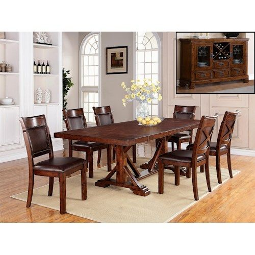 Adirondack 7 Piece Dining Table Set With Trestle Table Upholstered Side Chairs By Warehouse M Side Chairs Dining Dining Room Sets Trestle Dining Tables