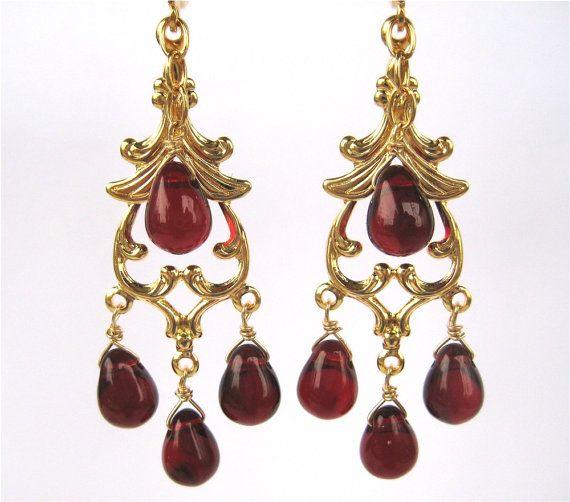 Garnet Red Chandelier Clip On Earrings Gold Ear Clips Dark Gl Drop Dangle Clipons Burgundy Teardrops Handmade Delhi