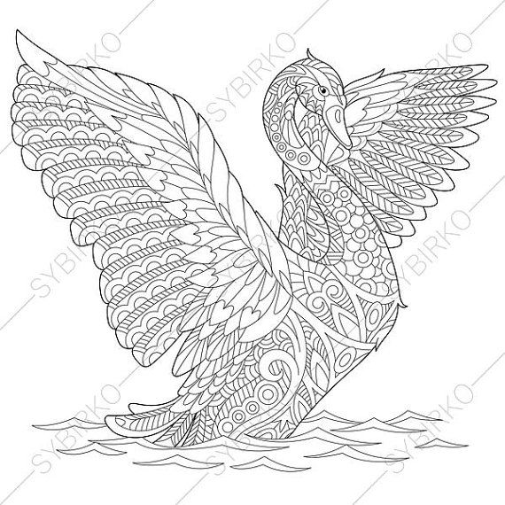 Swan Bird Adult Coloring Page. Zentangle by