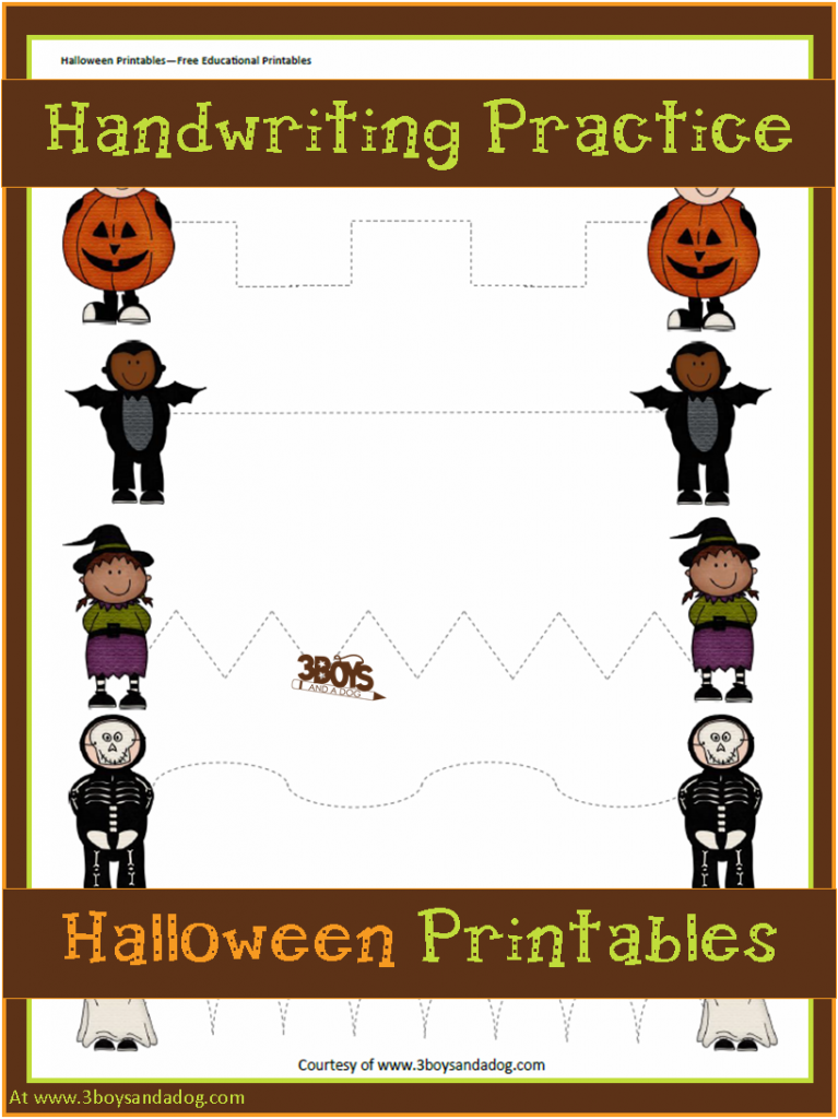 Halloween Printables Preschool Handwriting Practice
