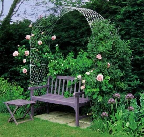 Beatiful garden arches arbors and pergolas creating for Garden designs seating areas