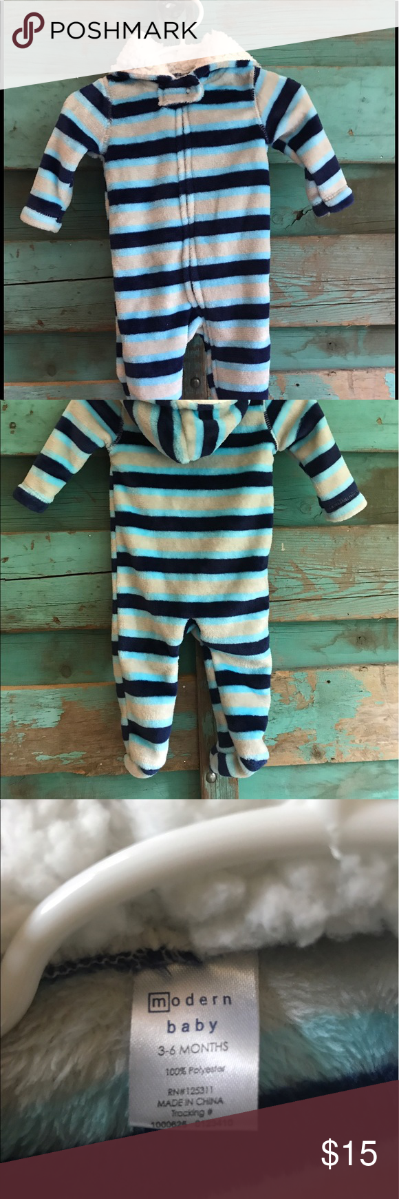 Warm modern baby one piece Fleece one piece. NWOT. Smoke and pet free home. Super soft with easy zipper front access. modern baby One Pieces Footies