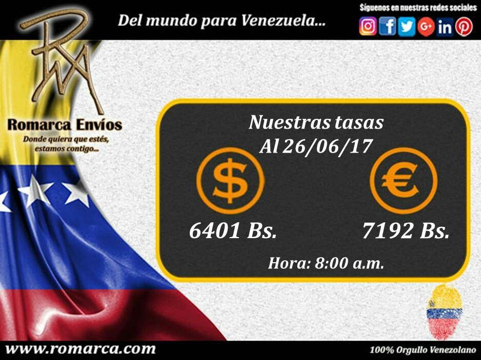 En Romarca ofrecemos nuestras tasas de cambio a las 08:00am 🕘 hora Este #Usa 🔛 #Venezuela 6401bsf/$ 7192bsf/€. 📍Visita nuestro sitio web para más información. #Chile  #Japon #Croacia #Ecuador #Alemania #Montenegro #Dinamarca #Andorra #RomarcaEnvios