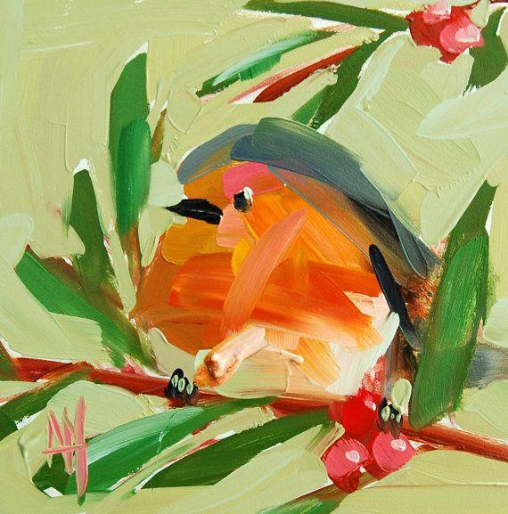 Robin no. 173 original bird oil painting by by prattcreekart