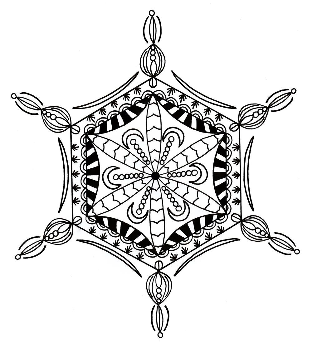 Bejeweled Snowflake Adult Coloring Page | Adult coloring, Stenciling ...
