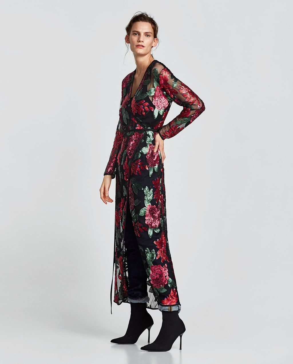ZARA - WOMAN - SEQUINNED CROSSOVER DRESS  Wickelkleid, Maxi