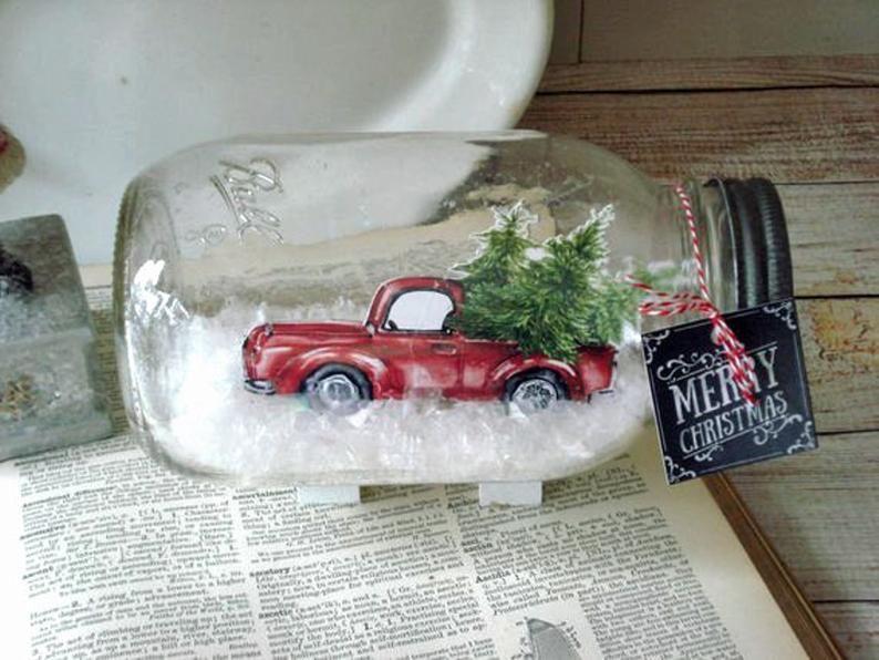 Mason Jar Dry Snow Globe Red Pickup Truck with Chr