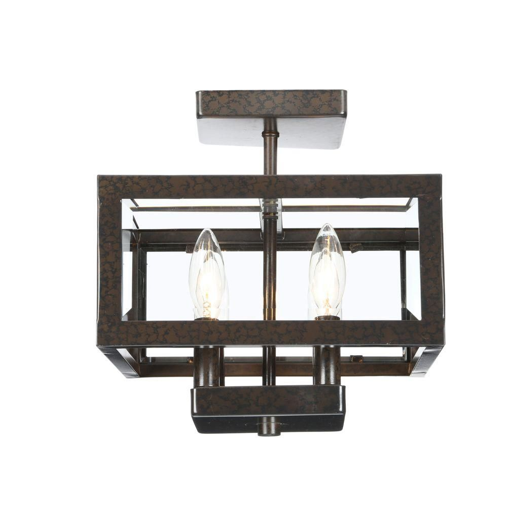 Hampton bay light oxide brass semiflushmount light with tallarook