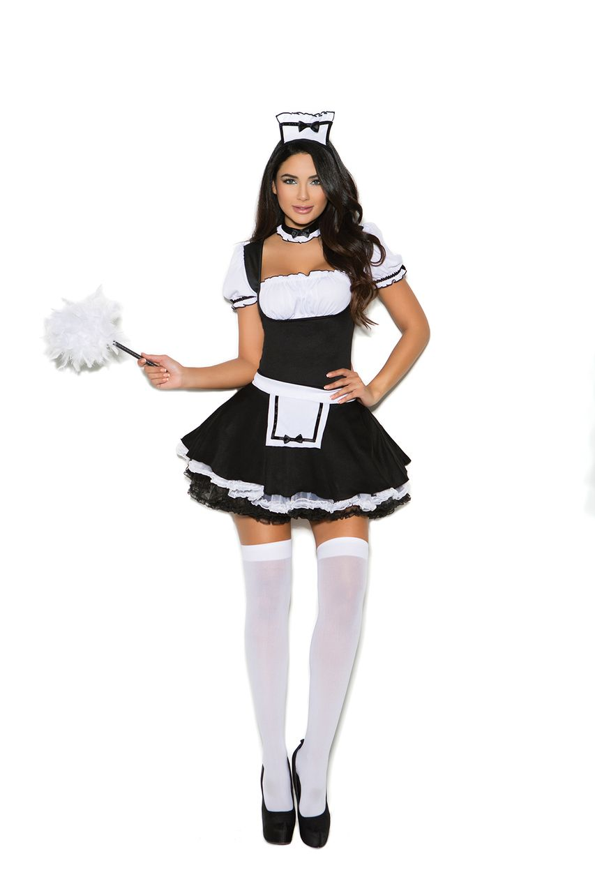 Sexy Elegant Moments Black/White Mistress French Maid Party Halloween  Costume Regular And Plus Sizes