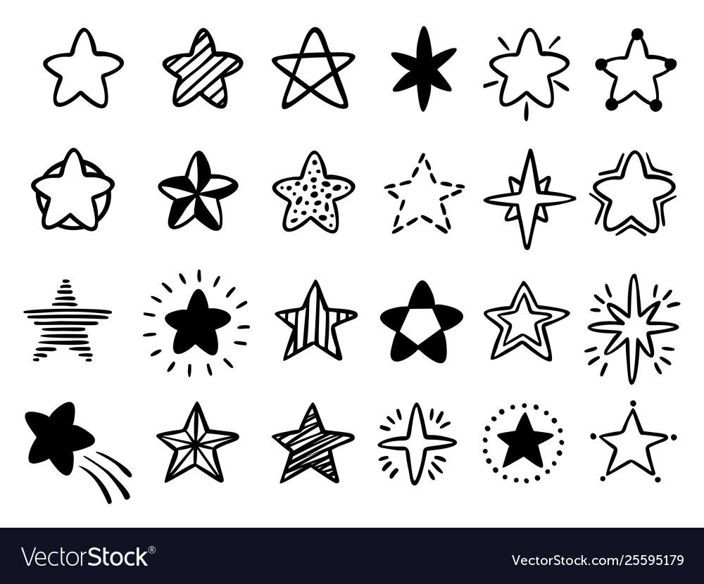 Big Set Of Hand Drawn Doodle Stars Black And White Isolated On Background Royalty Free Big Set Of Hand Dra Black And White Doodle How To Draw Hands Star Doodle