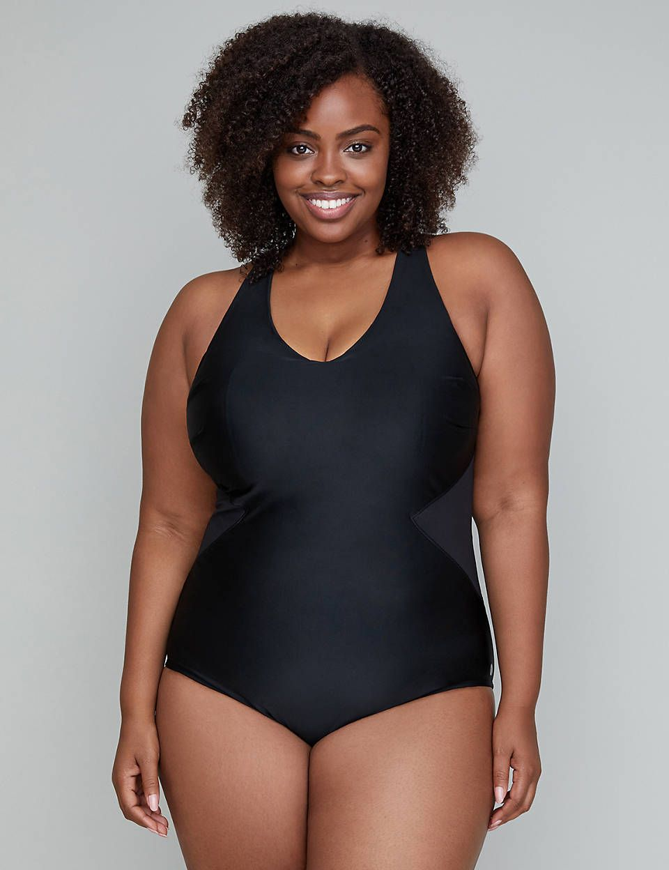 34babb79b2120 Lane Bryant Mesh Inset Active Lap Suit with Built-In No-Wire Bra ...