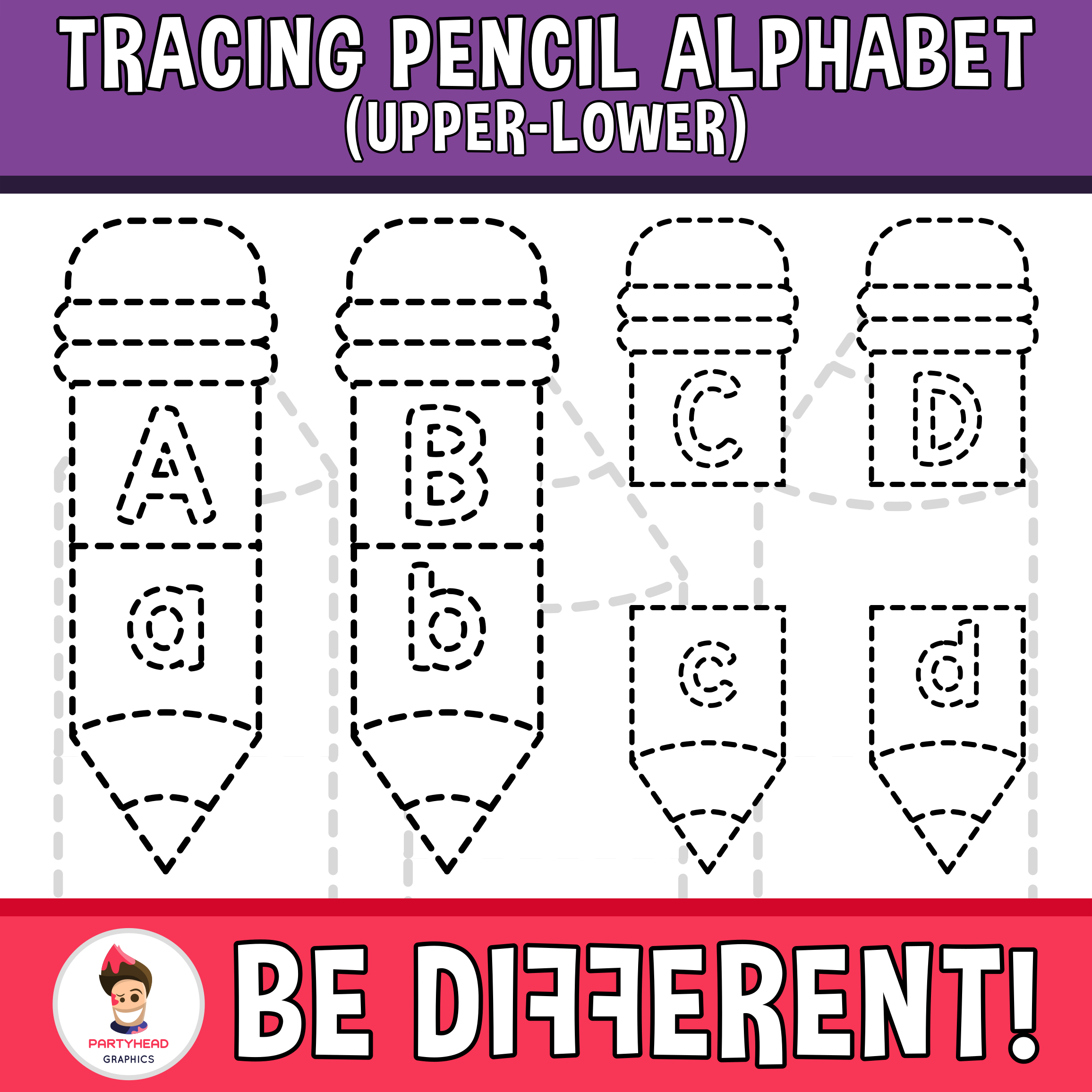 Tracing Pencil Alphabet Upper Lower Clipart Motor Skills Pencil Control Back To Clip Art Lower Case Letters Tracing