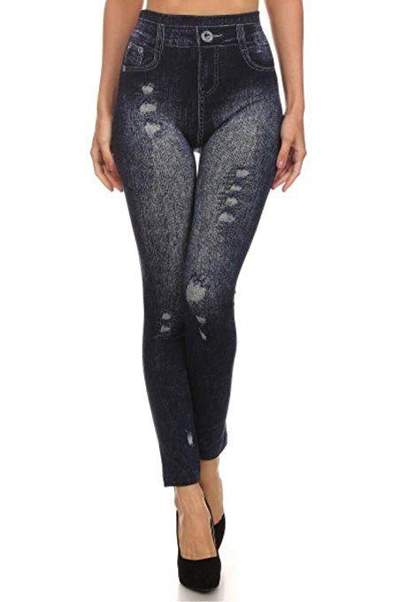 17882edb320  7.99   FREE Shipping Women s Denim Print Fake Jeans Seamless Full Length  Leggings at Amazon Women s Clothing store
