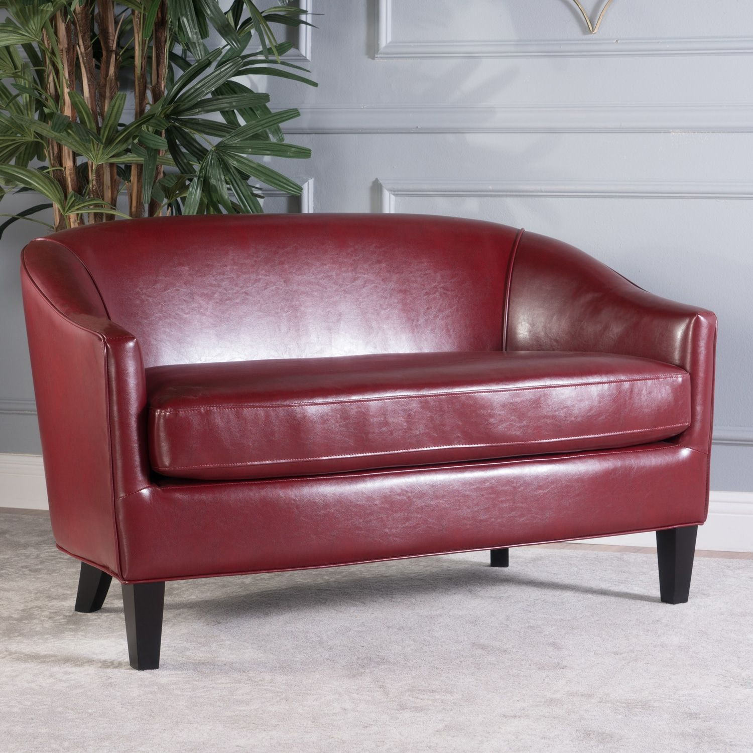 Amazing Westin Red Faux Leather Loveseat In 2019 Sofas Evergreenethics Interior Chair Design Evergreenethicsorg