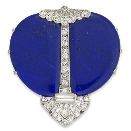An Art Deco diamond and lapis lazuli brooch,ca 1930