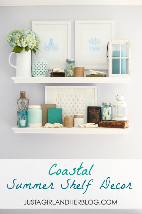 Coastal summer shelf decor beautiful summer and bathroom for Summer bathroom decor