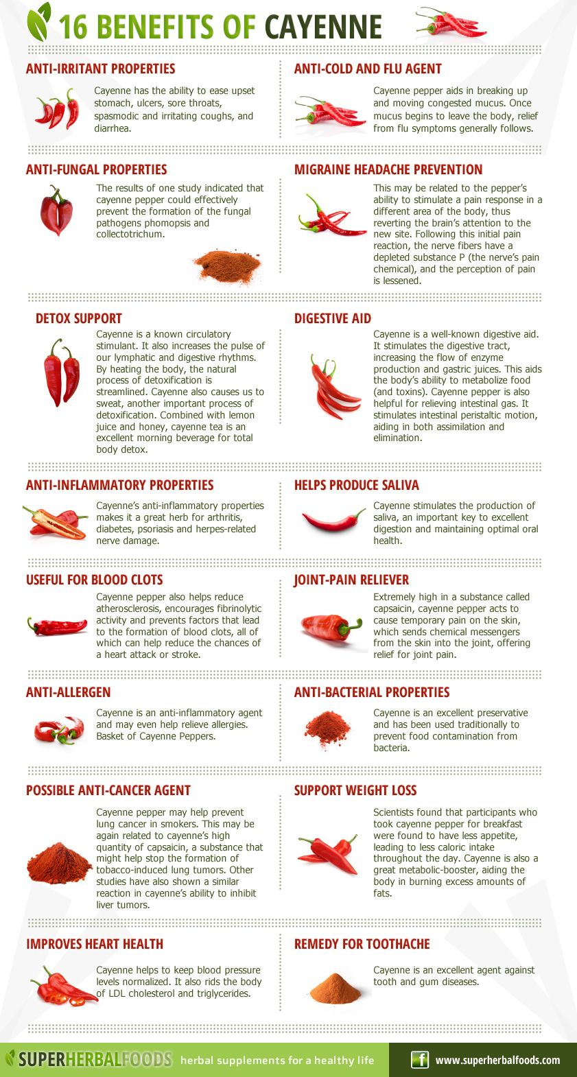 Cayenne Pepper – 16 Benefits : Here is an interesting infographic ...
