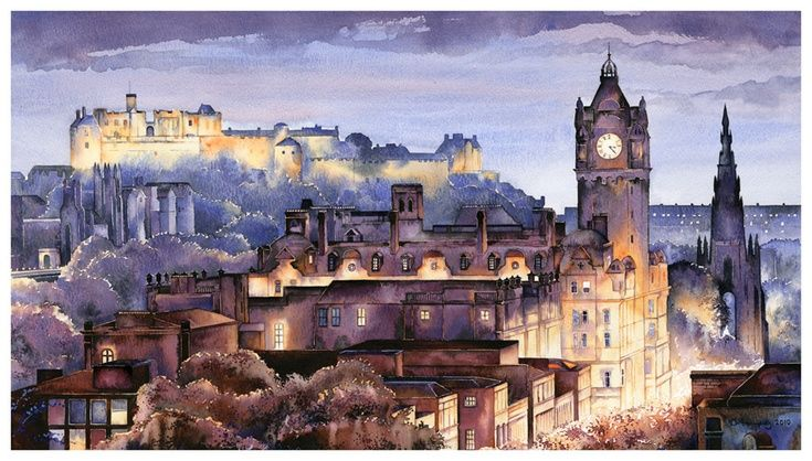 ARTFINDER: Edinburgh - Twilight by David Holliday - THIS IMAGE NOW COMES WITH A CONSERVATION MOUNT TO CUSTOMERS IN THE UNITED KINGDOM. ALL COUNTRIES OUTSIDE THE UK WILL RECEIVE IT WITH NO MOUNT, ON A ROLL WITH...