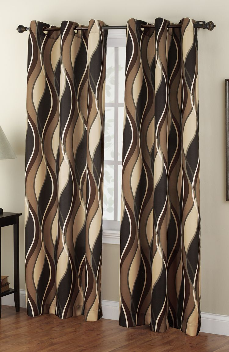 The Intersect Grommet Curtains Has A Horizontal Multi Color Wave Pattern Oil Rubbed Bronze Grommets Are 1 2 In Diameter Contemporary Modern