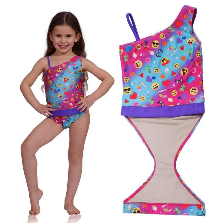3a11211131 Summer Emoji one-shoulder swimsuit for girls by FASTEN. Features patented  design that opens